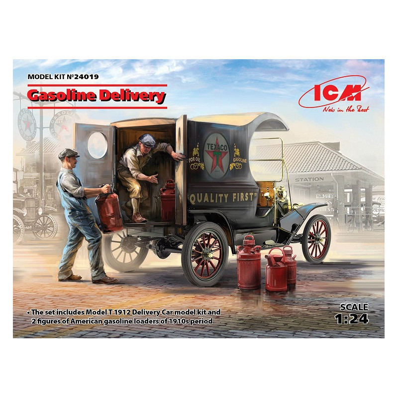 Model T 1912 Delivery Car with 2 figures of American Gasoline Loaders 1/24